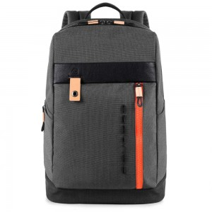 Piquadro backpack Blade leather and fabric in gray
