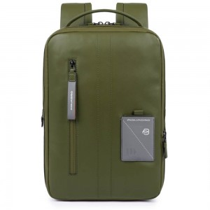 Piquadro Explorer expandable backpack green
