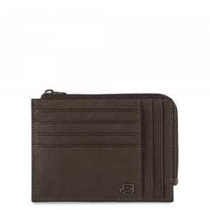 Piquadro coin holder dark brown