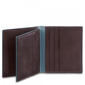 Piquadro cards holder Blue Square mahogany AW20