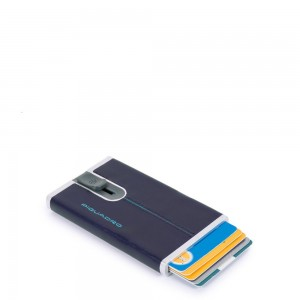 Piquadro cards holder sliding system blue AW20