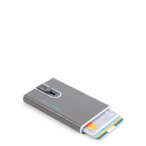 Piquadro cards holder sliding system grey AW20