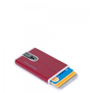 Piquadro cards holder sliding system red AW20