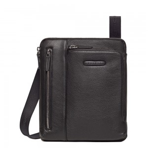 Piquadro Modus black double pocket bag AW20