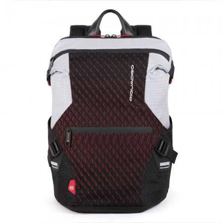 Piquadro grey and red backpack with PQ-Y AI20