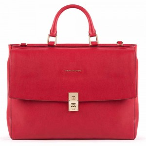 Piquadro PC holder red briefcase with two handles AW20