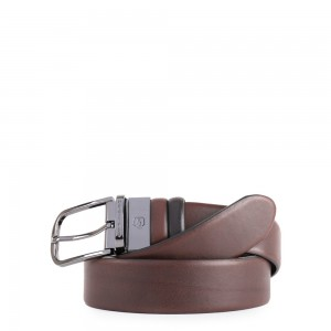 Piquadro belt Black Square black and brown AW20