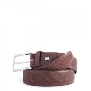 Piquadro brown crocodile print belt AW20