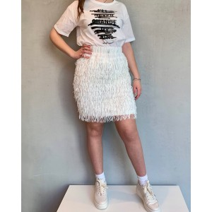 Noumeno Concept white mini skirt SS21