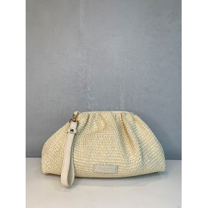 My Best Bags white raffia clutch SS21