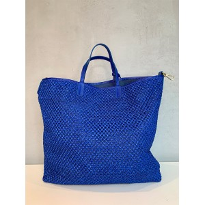 My Best Bags shopping bag blue raffia SS21